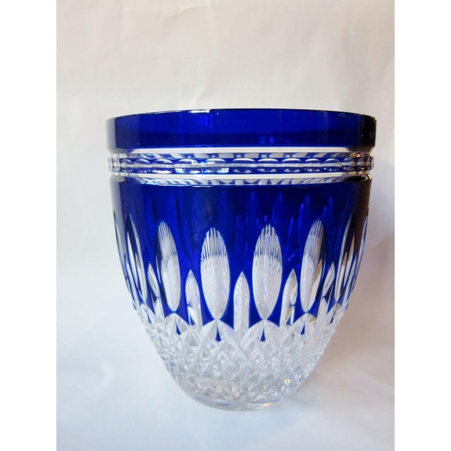 Vintage Waterford Clarendon Cobalt Blue Cut to Clear Cased Crystal Ice Bucket For Sale - Image 11 of 11