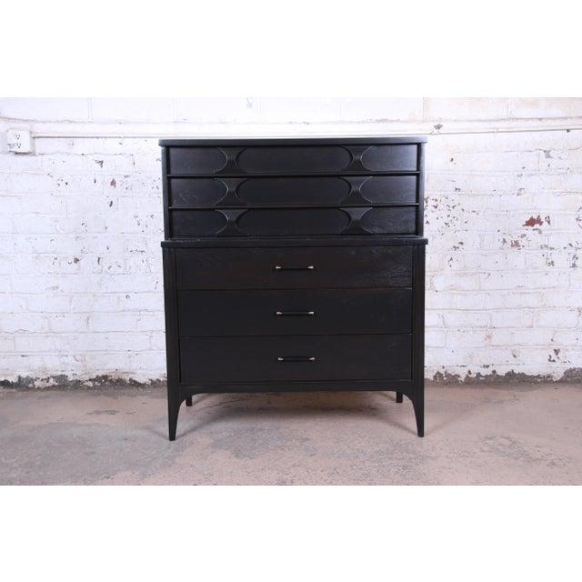Kent Coffey Perspecta Mid-Century Modern Ebonized Highboy Dresser For Sale - Image 13 of 13