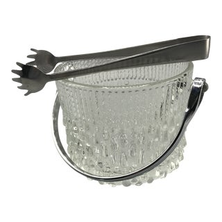 French Crystal Melting Ice Pattern Ice Bucket With Tongs For Sale