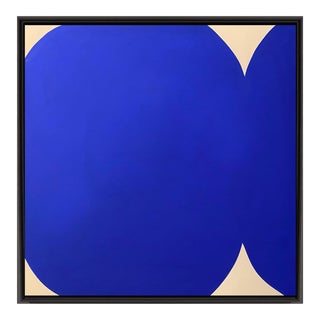 Contemporary Klein Blue and White Abstract Graphic Painting by Brooks Burns For Sale