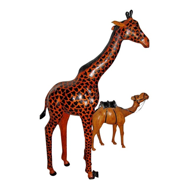 Handcrafted Leather Wrapped Paper Mache Giraffe and Camel - Set of 2 For Sale
