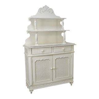 Lexington White Victorian Cottage Style Etagere Top Server Cabinet For Sale