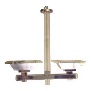 Vintage 2-Arm Ceiling Mount Light Fixture Lucite and Chrome Chandelier 70s For Sale