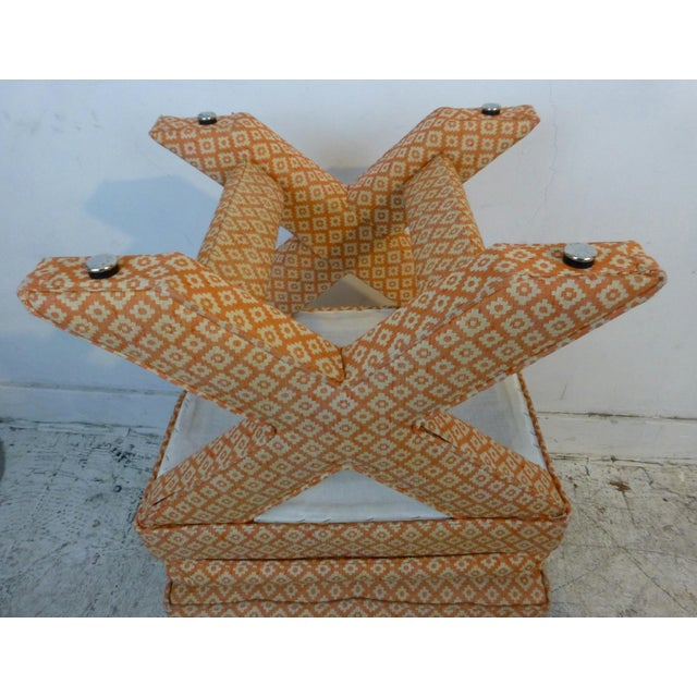 X Base Upholstered Stools - A Pair For Sale In Los Angeles - Image 6 of 8