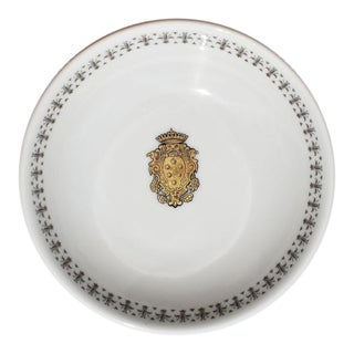 Richard Ginori Round Gold and White Catch All Dish Italy For Sale