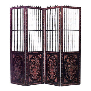 19th Century Continental Dutch Style Inlaid Floral Marquetry Four Fold Screen For Sale
