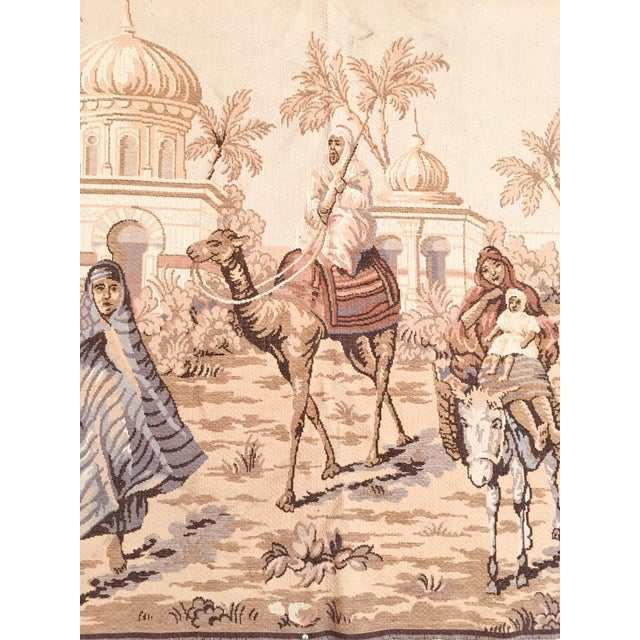 Tan Large 19th Century Orientalist Scene and Moorish Architecture Tapestry For Sale - Image 8 of 12