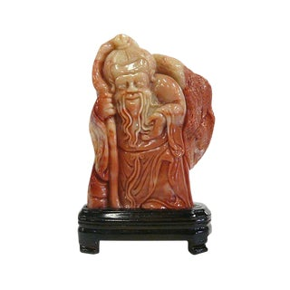 Chinese ShouShan Stone God of Longevity Display Figure For Sale