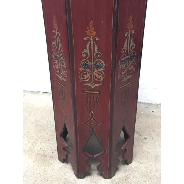 Wood Hand-Painted Moroccan Pedestal Table For Sale - Image 7 of 13