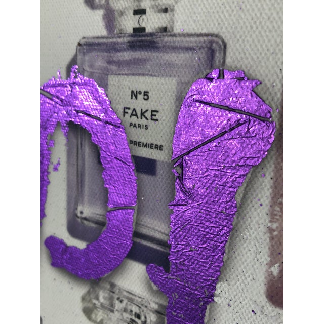 """Purple """"I Hate People"""" Framed Mixed Media Painting by Italian Pop Artist For Sale - Image 8 of 12"""