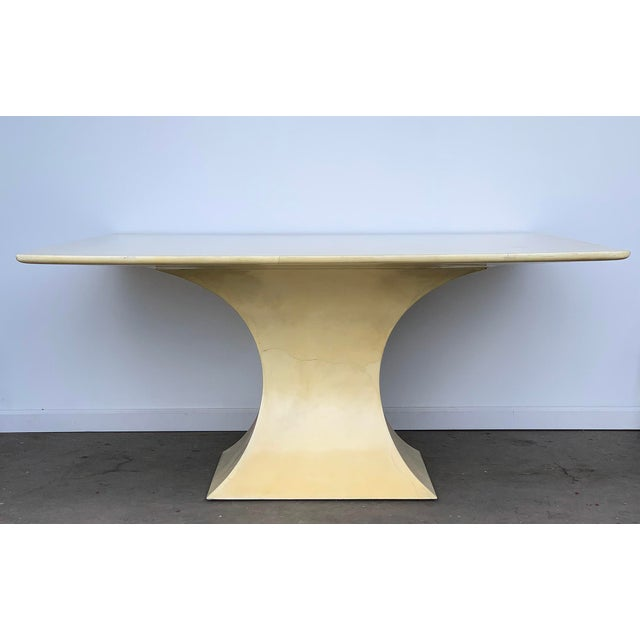 1970s Karl Springer Lacquered Square Goatskin Parchment Dining Table W/ Coa For Sale - Image 5 of 9