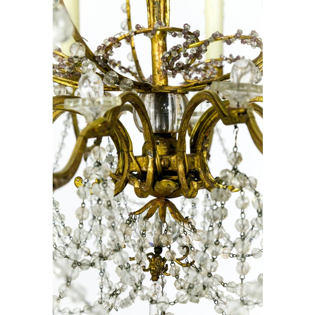 French French Crystal Beaded & Brass Curls Ten Light Chandelier For Sale - Image 3 of 11