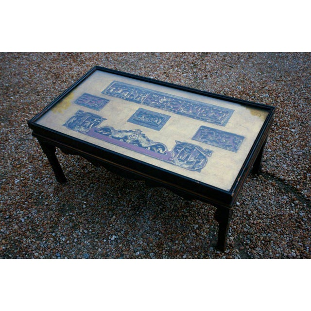 Chinese Chinese Screen Cocktail Table with Lacquer Base For Sale - Image 3 of 6