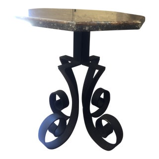 Onyx and Crushed Stone Side Table For Sale