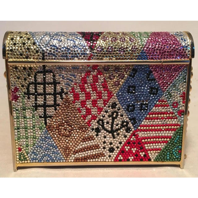 Judith Leiber Judith Leiber Multicolor Swarovski Crystal Top Flap Box Minaudiere Evening Bag For Sale - Image 4 of 8