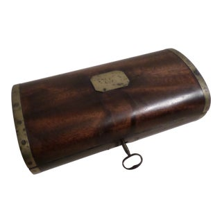 English Mahogany Brass Bound Dome Top Box, 19th Century For Sale