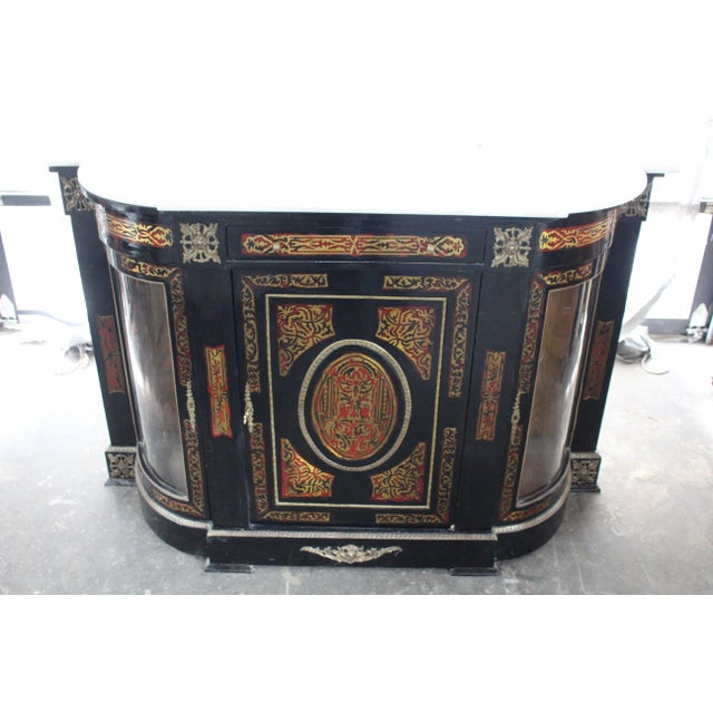 Brass 20th Century Louis XVI Boulle Glass Door Cabinet With Marble Top For Sale - Image 7 of 9