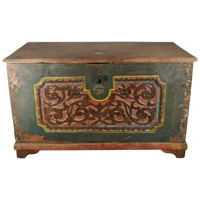 Antique Indonesian Hand-Carved and Painted Trunk with Foliage's, 19th Century For Sale - Image 9 of 9