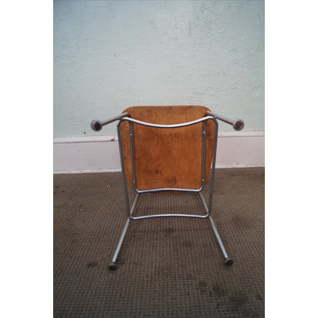 Brown Heywood Wakefield Mid Century Chrome Frame Side Chairs - S/4 For Sale - Image 8 of 10