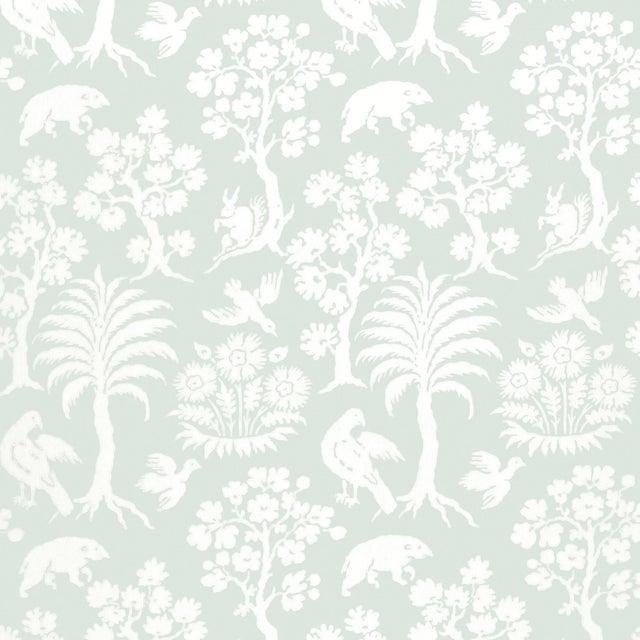 Contemporary Schumacher Palm Damask Wallpaper in Sky For Sale - Image 3 of 3