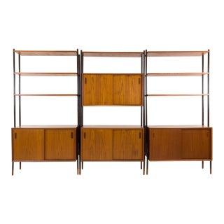Lyby Mobler Danish Teak Mid Century Modern Freestanding Wall Unit Shelves For Sale