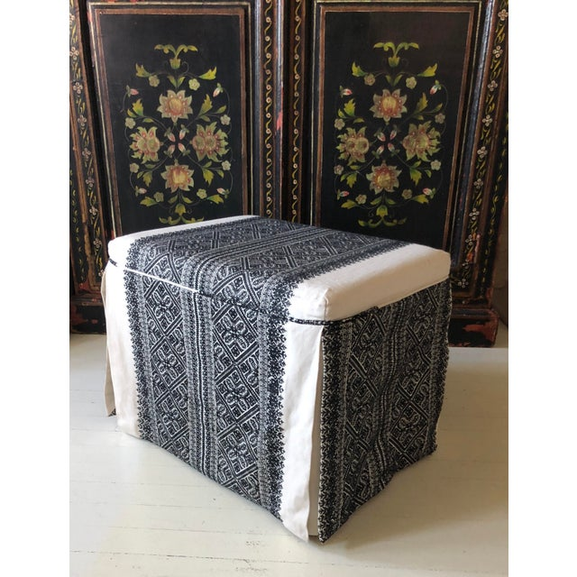 Mediterranean Slipcovered Ottoman in Embroidered F. Schumacher Fabric For Sale - Image 3 of 9