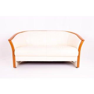 Ekornes Mid Century Teak and White Leather Sofa Preview