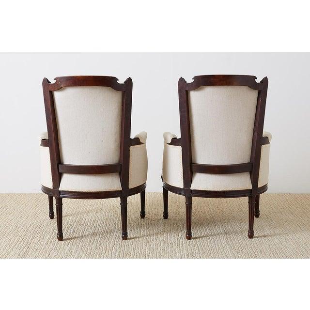 Pair of Maison Jansen Louis XVI Style Walnut Bergères For Sale - Image 12 of 13