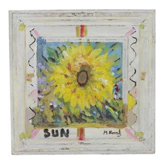 Mladen Novak Sunflower Acrylic Painting on Antique Tin Panel For Sale