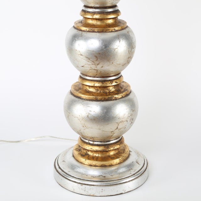 1940s Glamorous Silver and Gold Leaf Table Lamp by Frederick Cooper Studios, Circa 1940s For Sale - Image 5 of 8