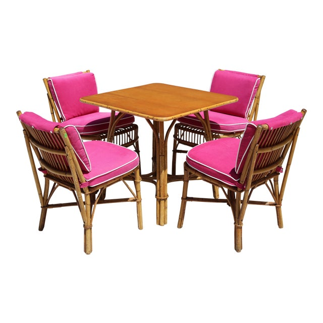 Vintage Ficks Reed Rattan Dining Table With 4 Chairs - Set of 5 For Sale