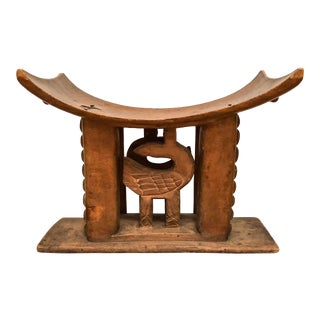 1950s Vintage Wood Carved Ashanti Stool For Sale