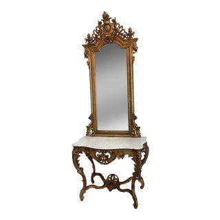 Mid 19th Century XIX Century French Console Table With Mirror For Sale