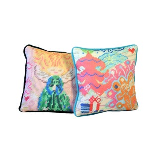 Whimsical Textile Art, Angel and Tree Pillows For Sale