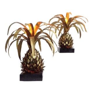 Parisian Pineapple Side Table Lamps by Maison Jansen, 1970s, Set of 2