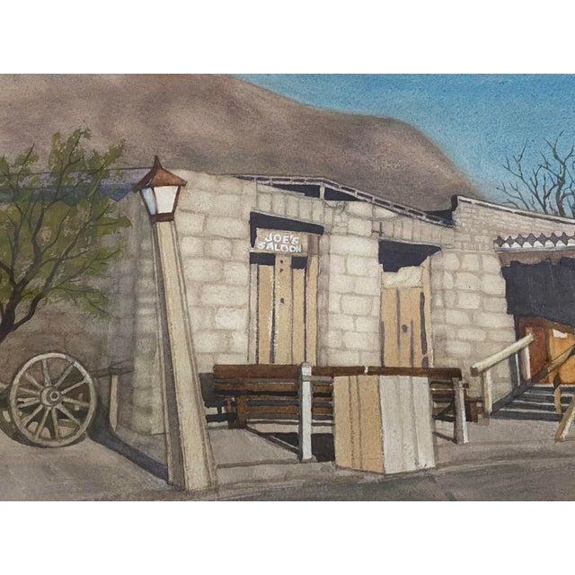 "Watercolor Art Ellis ""Calico Mine, Joe's Saloon"" Original Watercolor C.1980 For Sale - Image 7 of 12"