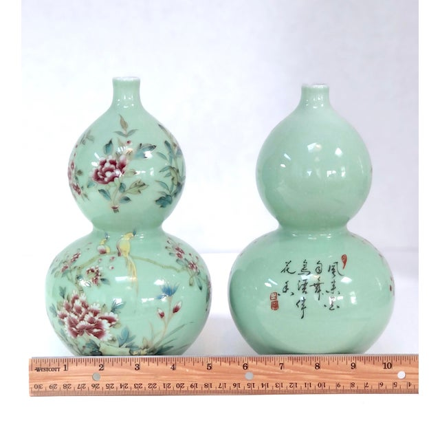 Celadon Chinese Celadon Porcelain Double Gourd Vases With Hànzì and Floral Motif - a Pair For Sale - Image 8 of 13