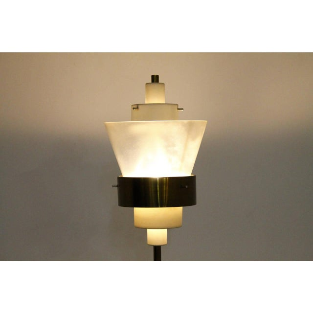 Stilnovo floor lamp, brass and Lucite, Italy, circa 1950s. Very good condition.