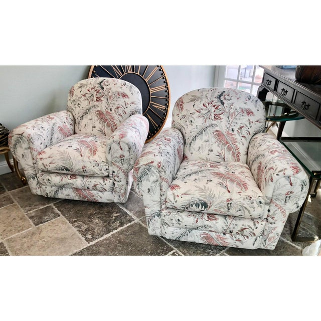 Jacobean Brunschwig & Fils Jacobean Linen Upholstery Swivel Club Chairs - a Pair For Sale - Image 3 of 5