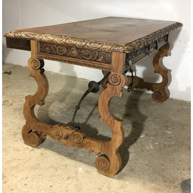 19th Century Walnut and Wrought Iron Desk with Two Drawers and Lyre Legs For Sale - Image 4 of 12