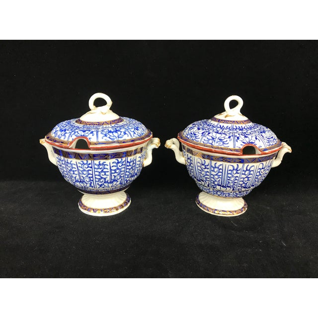 19th Century Victorian Blue & White China Lidded Serving Dishes - a Pair For Sale - Image 11 of 11
