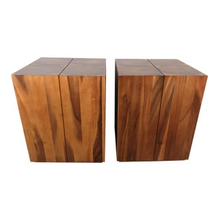 Pair of Burl Walnut Tables W/ Oyster Veneer