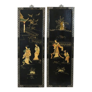 Vintage Chinoiserie Carved Stone Ladies and Pagoda Wall Art Panels - a Pair For Sale