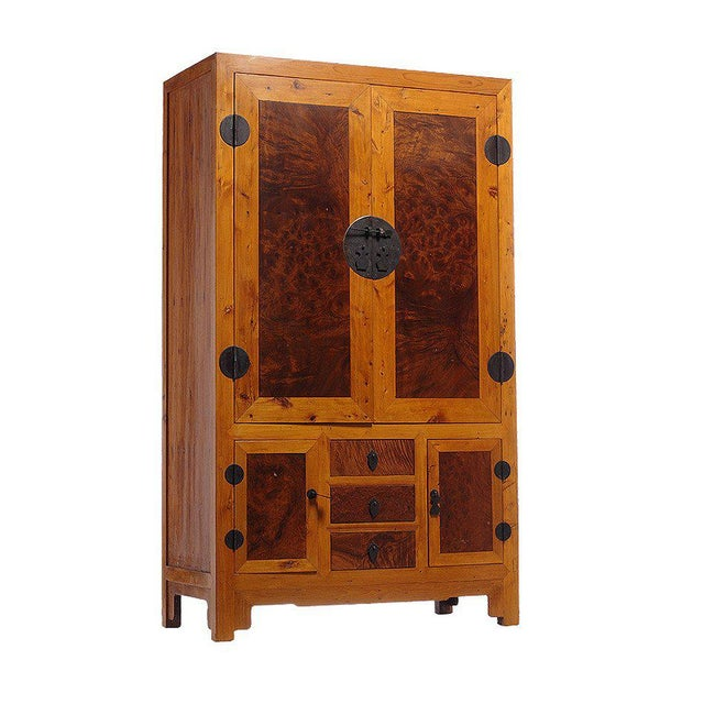 Asian 20th Century Chinese Two-Tone Burl Wood, Elmwood Armoire with Doors and Drawers For Sale - Image 3 of 6