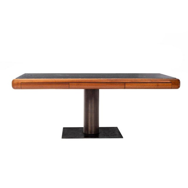 1960's Teak and Marble Executive Desk For Sale - Image 11 of 11
