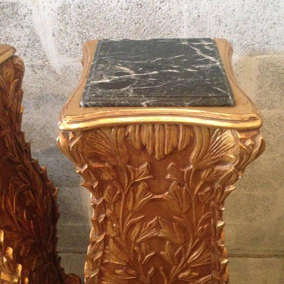 Golf Leaf Chippendale Pillars - A Pair For Sale In Miami - Image 6 of 6