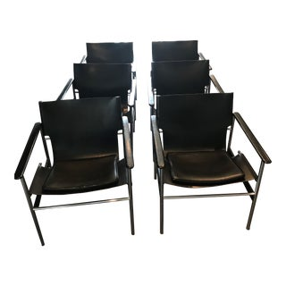 Vintage Charles Pollack 657 Sling Chairs in Black for Knoll International - Set of 6 For Sale