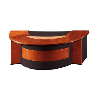 R.A.Mobili Antares Wood & Leather Office Desk For Sale
