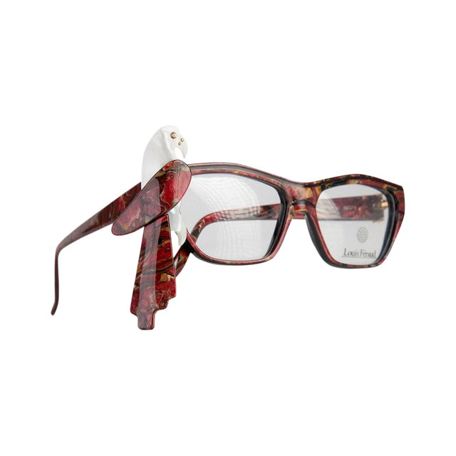 1980s Louis Feraud Parrot Marble Burgundy Glasses Frames for Sunglasses For Sale