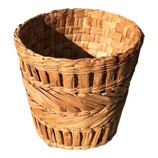 Vintage Woven Planter Basket For Sale